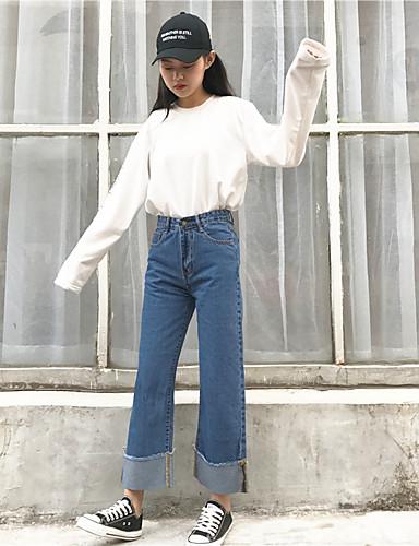 بنطلون مستقيم جينزات مطاطي صغير وسط كاجوال سادة ربيع خريف نساء