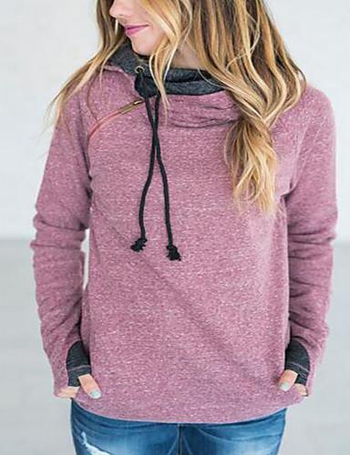 Damen Kapuzenshirt Sport Ausgehen Lässig/Alltäglich Einfach Aktiv Boho Solide Druck Bestickt Jacquard Fleece-Futter Mikro-elastisch