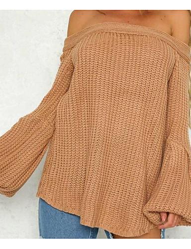 Damen Standard Pullover-Ausgehen Lässig/Alltäglich Street Schick Solide Bateau Langarm Baumwolle Elasthan Herbst Mittel Mikro-elastisch