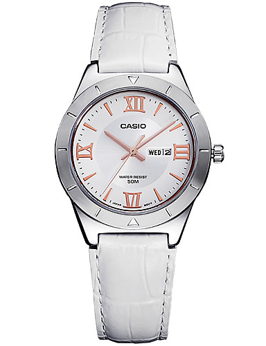 Casio Damen Modeuhr Armbanduhren für den Alltag Armbanduhr Japanisch Quartz Kalender Wasserdicht Leder Band Bettelarmband Elegante Bequem