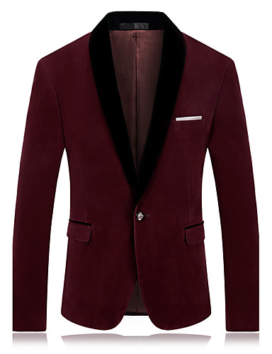 Men's Plus Size Blazer-Solid Colored Color Block Notch Lapel / Long Sleeve / Work