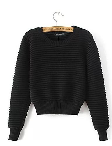 Damen Kurz Pullover-Ausgehen Lässig/Alltäglich Street Schick Solide Rundhalsausschnitt Langarm Baumwolle Elasthan Herbst Mittel
