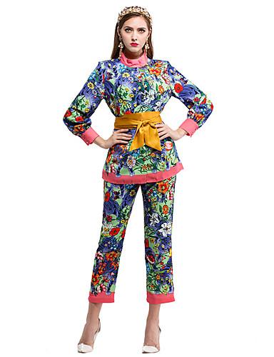 Damen Solide Blumen Einfach Lässig/Alltäglich Shirt Hose Anzüge,Rundhalsausschnitt Herbst Lange Ärmel