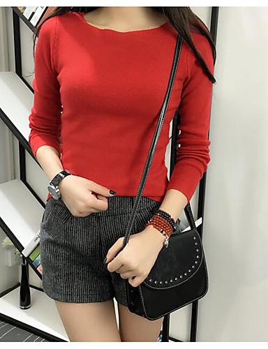 Damen Standard Pullover-Lässig/Alltäglich Einfach Gestreift Rundhalsausschnitt Langarm Baumwolle Frühling Herbst Mittel Mikro-elastisch