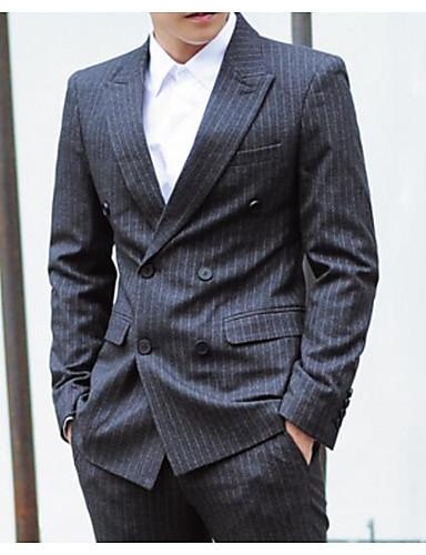 Herren Gestreift Street Schick Ausgehen Lässig/Alltäglich Arbeit Blazer,Steigendes Revers Sommer Lange Ärmel Standard Baumwolle Polyester
