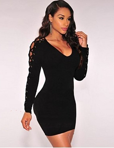 Women's Club Butterfly Sleeve Silk Bodycon Dress - Solid Colored Black, Lace High Rise