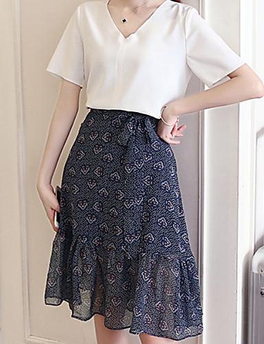 Damen Solide Druck Einfach Ausgehen Lässig/Alltäglich T-Shirt-Ärmel Rock Anzüge,V-Ausschnitt Sommer Kurzarm Mikro-elastisch