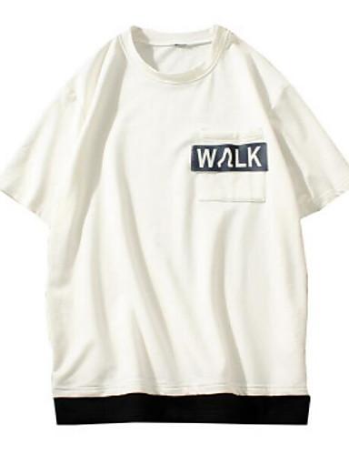 Herren Buchstabe Einfach Ausgehen Lässig/Alltäglich T-shirt,Rundhalsausschnitt Kurzarm Baumwolle