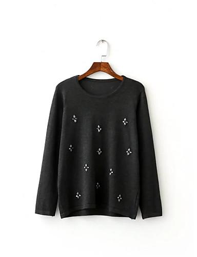 Damen Standard Pullover-Ausgehen Lässig/Alltäglich Einfach Niedlich Solide Druck Rundhalsausschnitt Langarm Andere Frühling Herbst Dünn
