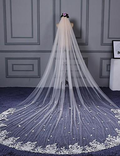 Egykapcsos Vágott szegély Csipke szegély Menyasszonyi fátyol Katedrális fátylak A Üveggyönggyel megszórt motívum stílus Rátétek Csipke
