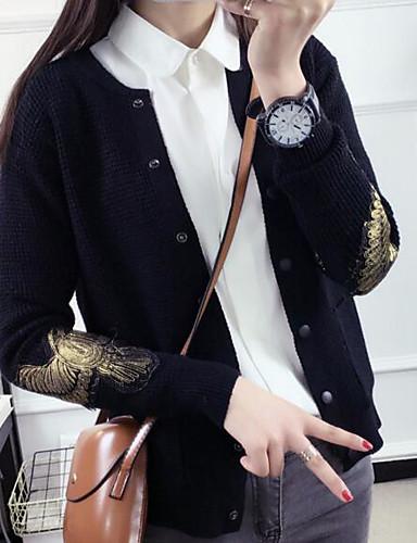 Damen Standard Pullover-Lässig/Alltäglich Druck Rundhalsausschnitt Langarm Baumwolle Leinen Herbst Mittel Mikro-elastisch