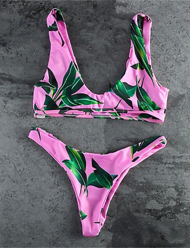 Női Virágos Bikini - Nyomtatott Pánt Trópusi levél
