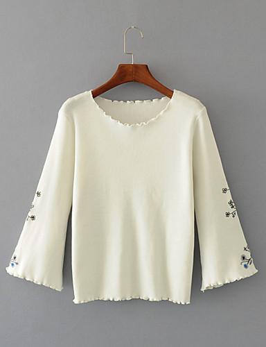 Damen Standard Pullover-Ausgehen Lässig/Alltäglich Einfach Street Schick Solide Druck Rundhalsausschnitt Langarm Polyester Andere Winter