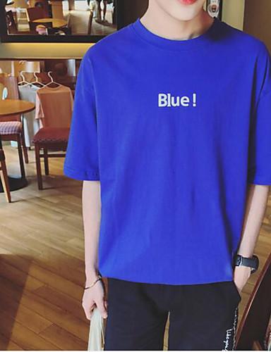 Herren Solide Buchstabe Einfach Lässig/Alltäglich T-shirt,Rundhalsausschnitt Kurzarm Baumwolle