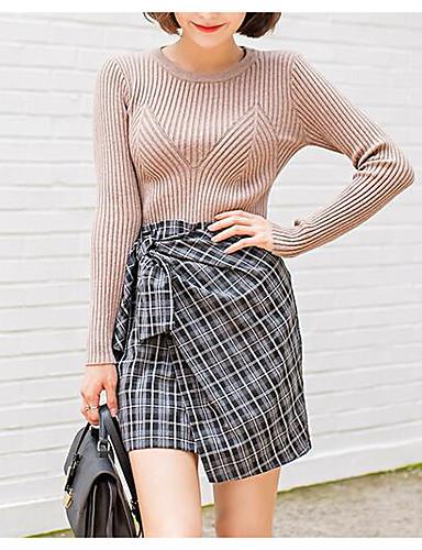 Damen Standard Pullover-Lässig/Alltäglich Einfach Solide Rundhalsausschnitt Langarm Baumwolle Frühling Herbst Mittel Mikro-elastisch