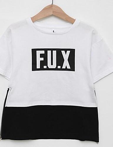 Mädchen T-Shirt Einfarbig Druck Baumwolle Sommer