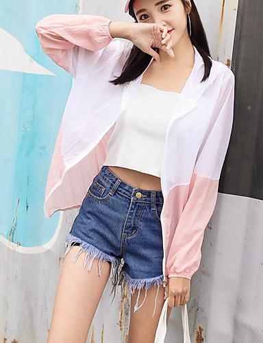 Damen Einfarbig Einfach Ausgehen Mantel,Mit Kapuze Sommer Lange Ärmel Standard Baumwolle