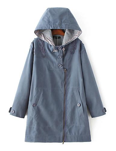 Damen Solide Einfach Street Schick Ausgehen Lässig/Alltäglich Trench Coat,Mit Kapuze Frühling Herbst Langärmelige Lang Andere Bestickt