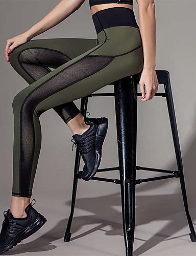 Women's Stitching Legging - Mesh, Patchwork High Waist