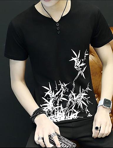 Herren Druck Einfach Lässig/Alltäglich T-shirt,Rundhalsausschnitt Sommer Kurzarm Baumwolle Dünn