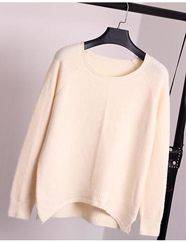 Damen Standard Pullover-Lässig/Alltäglich Solide Rundhalsausschnitt Langarm Polyester Frühling Herbst Dünn Dehnbar