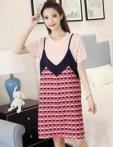 Damen Muster Einfach Lässig/Alltäglich Bluse Rock Anzüge,Rundhalsausschnitt Sommer Kurzarm Mikro-elastisch