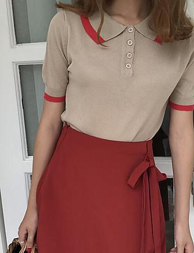 نساء Polo كاجوال/يومي بسيط سادة طباعة حامل كم قصير قطن