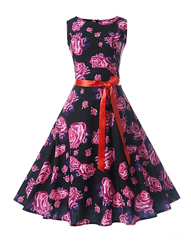 Women's Work Holiday Vintage Cotton Sheath Swing Dress - Floral High Rise