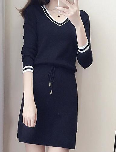 Damen A-Linie Lose Etuikleid Kleid-Ausgehen Lässig/Alltäglich Arbeit Einfach Sexy Street Schick Solide Gestreift V-Ausschnitt Übers Knie