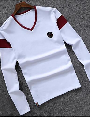 Herren Einfarbig Einfach Lässig/Alltäglich T-shirt,V-Ausschnitt Langarm Baumwolle