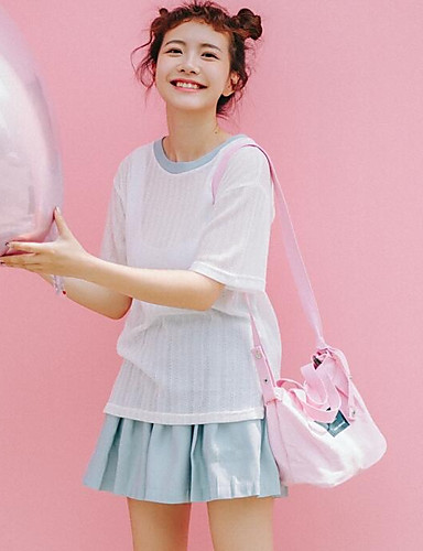 Damen Gestreift Einfach Lässig/Alltäglich T-Shirt-Ärmel Rock Anzüge,Rundhalsausschnitt Sommer ½ Ärmel