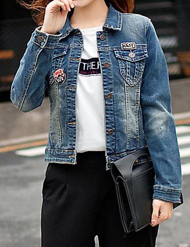 Damen Solide Einfach Lässig/Alltäglich Jeansjacke,Hemdkragen Frühling Herbst Langärmelige Standard Polyester