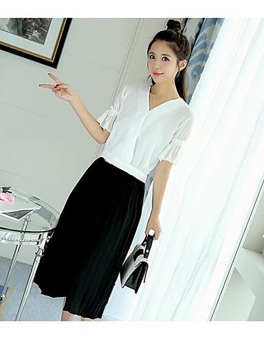 Damen Solide Einfach Lässig/Alltäglich Bluse Rock Anzüge,V-Ausschnitt Sommer ¾ Ärmel
