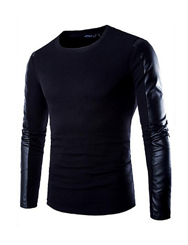 Men's T-shirt - Solid Colored Round Neck / Long Sleeve