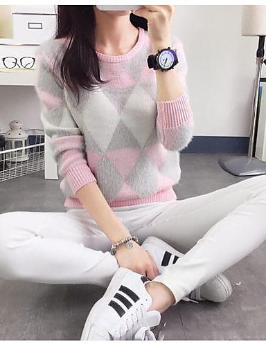 Damen Standard Pullover-Ausgehen Geometrisch Rundhalsausschnitt Langarm Baumwolle Frühling Herbst Mittel Mikro-elastisch