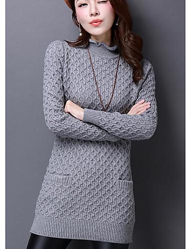Damen Lang Pullover-Lässig/Alltäglich Solide Rundhalsausschnitt Langarm Baumwolle Herbst Winter Mittel Dehnbar