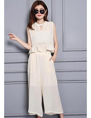 Damen Solide Street Schick Ausgehen Lässig/Alltäglich Bluse Hose Anzüge,Rundhalsausschnitt Frühling Sommer Ärmellos Unelastisch