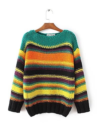Damen Standard Pullover-Ausgehen Lässig/Alltäglich Einfach Gestreift Bateau Langarm Wolle Baumwolle Frühling Herbst Dünn Mittel