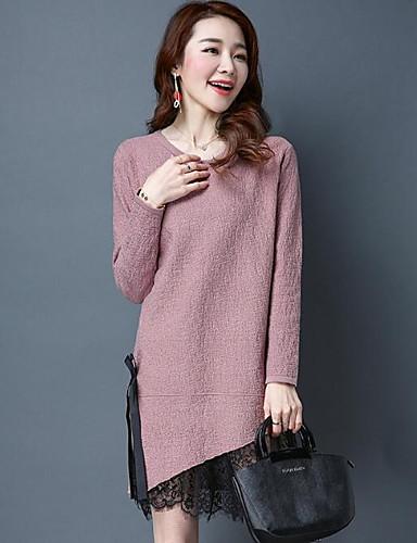 Damen Lang Pullover-Lässig/Alltäglich Solide Rundhalsausschnitt Langarm Baumwolle Andere Frühling Herbst Mittel Mikro-elastisch