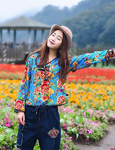 نساء قميص كاجوال/يومي بسيط ورد طباعة رقبة V كم طويل كتان أخرى