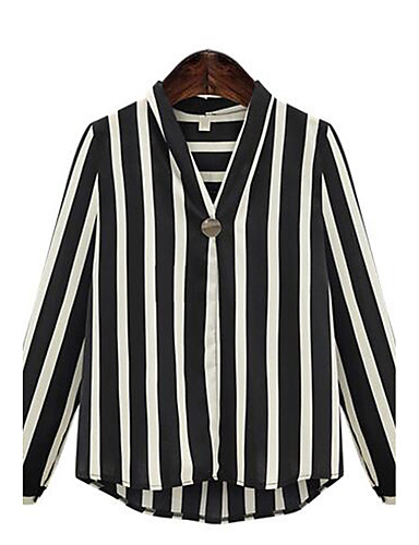 Women's Street chic Plus Size Blouse - Striped V Neck / Spring / Fall / Fine Stripe
