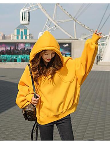 Damen Pullover Sport Ausgehen Lässig/Alltäglich Einfach Aktiv Boho Solide Entfernbares Futter Fleece-Futter Mikro-elastisch Baumwolle