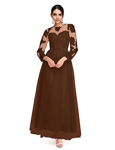 preiswerte Abendkleider-A-Linie Illusionsausschnitt Knöchel-Länge Tüll Abiball / Formeller Abend Kleid mit Applikationen / Schleife(n) / Knöpfe durch TS Couture® / Transparente