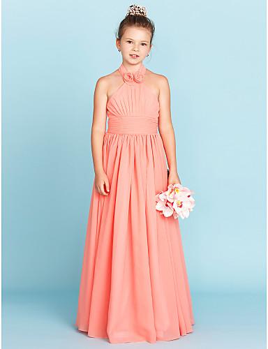 A-vonalú / Hercegnő Pánt Földig érő Sifon Junior koszorúslány ruha val vel Selyemövek / Szalagok / Virág által LAN TING BRIDE® / Virágos