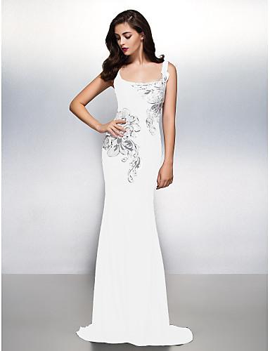 71b8bbc269c0 Ίσια Γραμμή Scoop Neck Ουρά Ζέρσεϊ Όμορφη Πλάτη   See Through Επίσημο  Βραδινό Φόρεμα με Σχέδιο   Στάμπα με TS Couture®