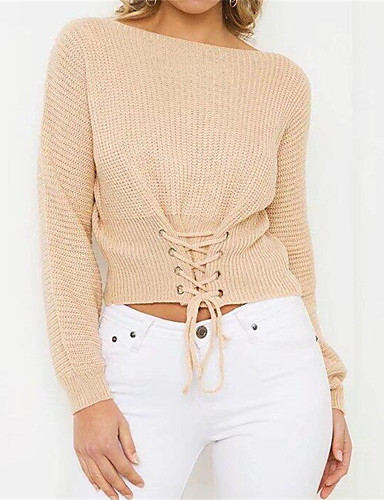 Women's Long Sleeve Cotton Pullover - Solid Colored Boat Neck / Fall / Winter / Lace up