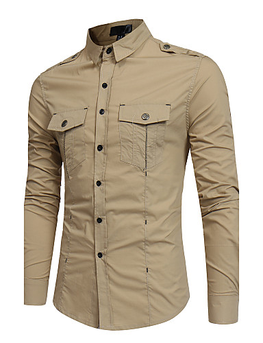 Men's Slim Shirt - Solid Colored Basic Classic Collar / Long Sleeve
