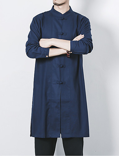 Men's Chinoiserie Plus Size Linen Slim Shirt - Solid Colored Basic Standing Collar / Long Sleeve