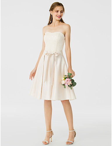 A-Line Princess Strapless Knee Length Lace Satin Bridesmaid Dress with Buttons Sash / Ribbon by LAN TING BRIDE®