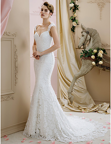 Ball Gown / Mermaid / Trumpet Straps Court Train Lace Made-To-Measure Wedding Dresses with by LAN TING BRIDE® / Open Back
